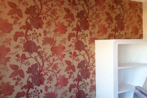 Wallpapered walls